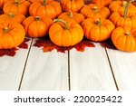 Autumn leaves and pumpkins forming a border against white wood                  - stock photo