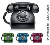 old telephones. vintage style... | Shutterstock .eps vector #220076806