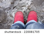 Child Stands On Icy Dirty...