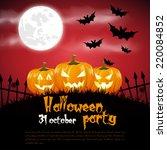 happy halloween poster. vector... | Shutterstock .eps vector #220084852