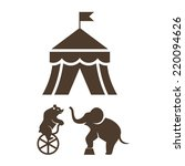 set of black silhouette circus... | Shutterstock . vector #220094626