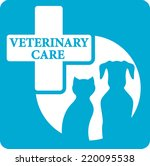 Stock vector blue veterinary care icon with pedigreed dog and cat silhouette 220095538