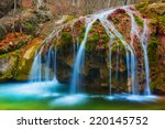 Closeup Autumn Waterfall