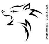 hyenas head tribal tattoo... | Shutterstock .eps vector #220158526