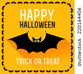 cute bat. happy halloween card. ... | Shutterstock .eps vector #220164406