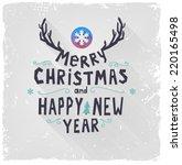 retro vintage merry christmas... | Shutterstock .eps vector #220165498