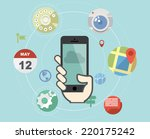 smartphone with flat style... | Shutterstock .eps vector #220175242