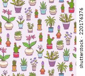 home plants seamless pattern... | Shutterstock .eps vector #220176376