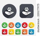 Stock vector shelter pets sign icon hand holds paw symbol animal protection circles and rounded squares 220177975