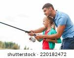 Fishing Is Fun. Cheerful Fathe...