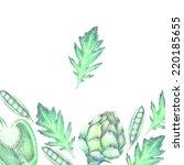 hand drawn vegetable background ... | Shutterstock . vector #220185655