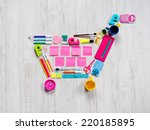 colorful shopping cart composed ... | Shutterstock . vector #220185895