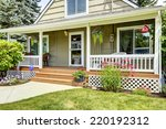 house with cozy entrance porch. ... | Shutterstock . vector #220192312