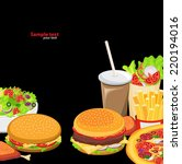 black background fast food | Shutterstock .eps vector #220194016