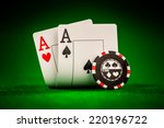 stack of chips and two aces on... | Shutterstock . vector #220196722