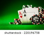 stack of chips and two aces on... | Shutterstock . vector #220196758