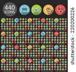 set of 440 universal flat... | Shutterstock .eps vector #220200226
