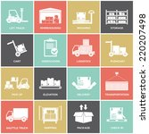 warehouse icons flat set of... | Shutterstock .eps vector #220207498