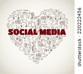 social media doodle background | Shutterstock .eps vector #220222456