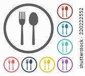 fork   spoon icon | Shutterstock .eps vector #220222552