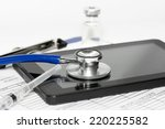 stethoscope with syringe and... | Shutterstock . vector #220225582