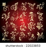 goldens floral elements for...   Shutterstock .eps vector #22023853