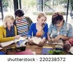 multiethnic group of people... | Shutterstock . vector #220238572