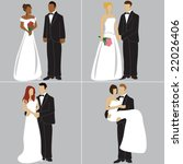 bride and groom in different... | Shutterstock .eps vector #22026406