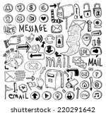 e mail doodle set. hand drawn... | Shutterstock . vector #220291642