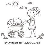 mother and baby on a walk ... | Shutterstock .eps vector #220306786