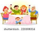 happy family raising a toast on ... | Shutterstock .eps vector #220308316
