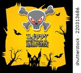 vector happy halloween card.... | Shutterstock .eps vector #220313686