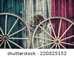 a close up of two antique wagon ... | Shutterstock . vector #220325152
