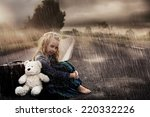 lonely girl alone on the street ... | Shutterstock . vector #220332226
