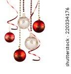 christmas red balls hanging... | Shutterstock . vector #220334176