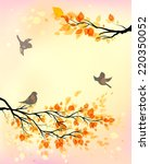 Autumn Background With Birds...