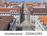 Small photo of Lisbon, Portugal. August 31, 2014: Aerial view of the Augusta Street and the Downtown District, known as Baixa. The most cosmopolitan street of the city is permanently full with Lisboans and tourists