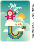 baby shower poster with rainbow.... | Shutterstock .eps vector #220378696