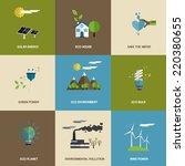 set of flat designed ecology... | Shutterstock .eps vector #220380655