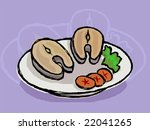 two peace of fish fry in a... | Shutterstock .eps vector #22041265