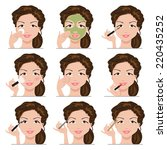 woman using different tools to... | Shutterstock .eps vector #220435252