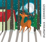 Reindeer In Forest. Happy...
