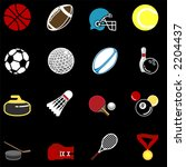 series of icons or design elements relating to sports - stock vector