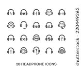 headphone icons set. | Shutterstock .eps vector #220449262