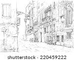 venice   calle fondamenta megio.... | Shutterstock .eps vector #220459222