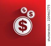 Money Symbol On Red Background...