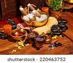 luxury ayurvedic spa massage... | Shutterstock . vector #220463752