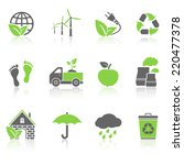 eco icons with reflection | Shutterstock . vector #220477378