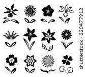 12 Flower Icon Set. Black...