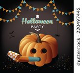 halloween party pumpkin and... | Shutterstock .eps vector #220497442